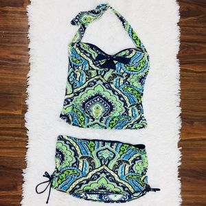 Tommy Bahama Print Pin Up Bow Skirted 2pc Swimsuit
